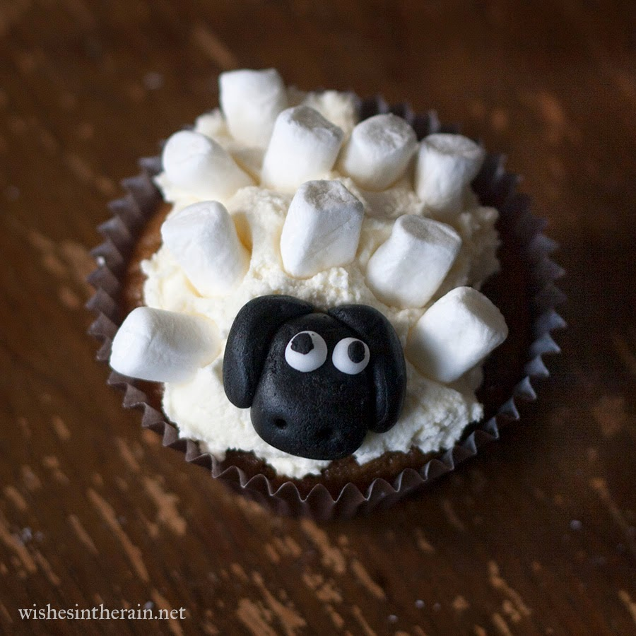 sheep cupcake with marshmallow wool