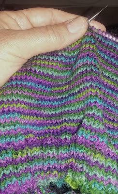 Multi colored cowl for sale at https://www.etsy.com/shop/JeannieGrayKnits