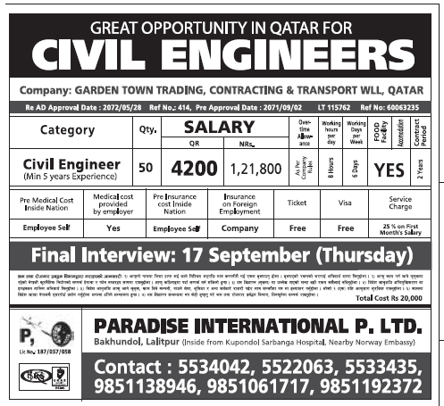 Jobs In Qatar For Nepali 2015 Salary Rs 1 21 800 New