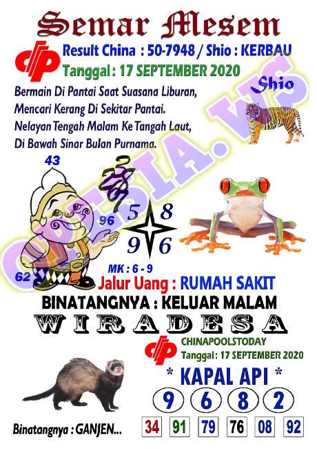 Kode syair Singapore Kamis 17 September 2020 6