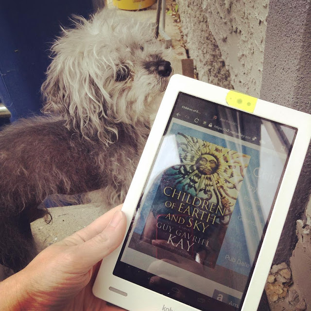Fuzzy Murchie stands next to a recycle bin, staring upwards. A pale hand holds a white Kobo with the cover of Children of Earth and Sky so it peeks into the shot. The book's cover features a wrought iron sun that's golden near the top and fades to deep blue near the bottom.