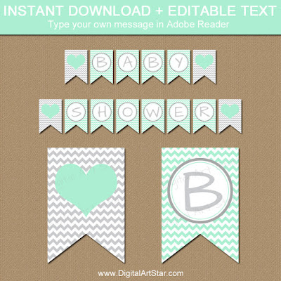 baby shower decorations - mint chevron baby shower banner with gray accents