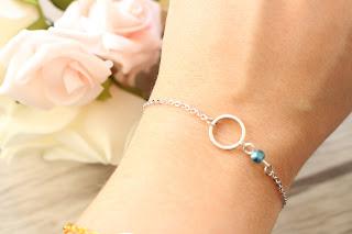 """bracelet argenté """"blue ring"""""""