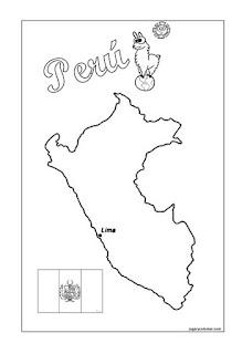 Colorea mapa de  Perú
