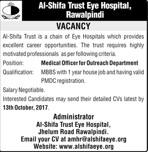 Medical Officers jobs in Al Shifa Trust Eye Hospital Rawalpindi Oct 2017