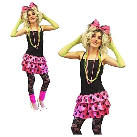 80s polka dot ra ra costume for women