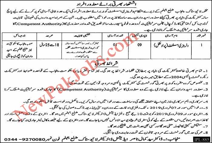 Jobs in District Jhehlum 2019 as Veterinary Assistant