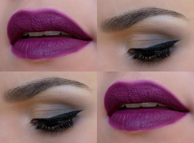 Maquiagem para Casamentos a Noite esfumado cinza batom roxo
