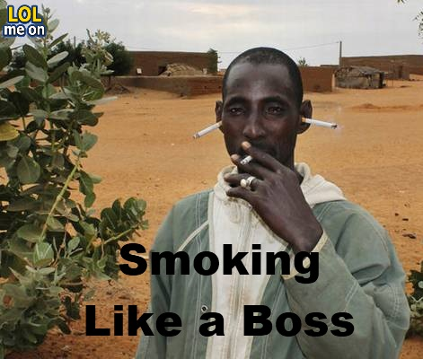 Smoking Like a Boss - Funny Picture With Caption