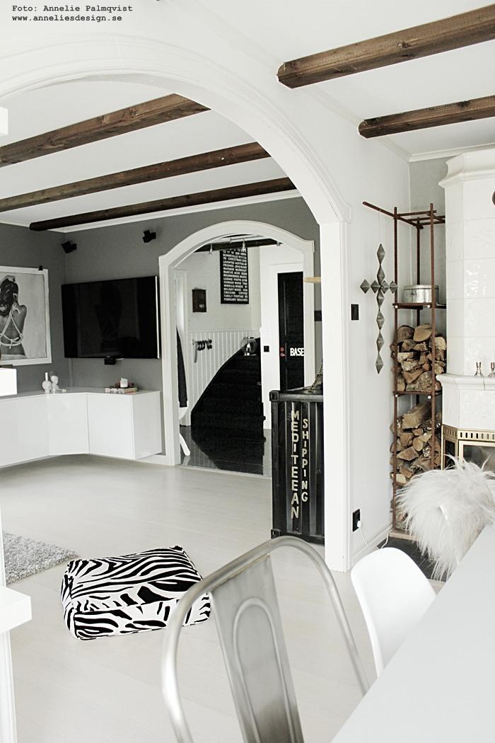 öppen planlösning, vardagsrum, takbalkar, takbjälkar, inredning, vardagsrum, vardagsrummet, hall, hallen, webbutik, annelies design, grått, gråmålade väggar, svartvit inredning, svart och vitt, nätbutik, nettbutikk,
