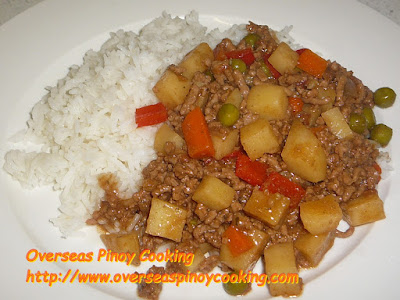 Giniling at Patatas Carinderia Style with Rice