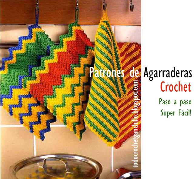 dos modelos modernos de agarraderas crochet
