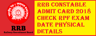 RPF Constable Hall Ticket 2018 Check Exam Date