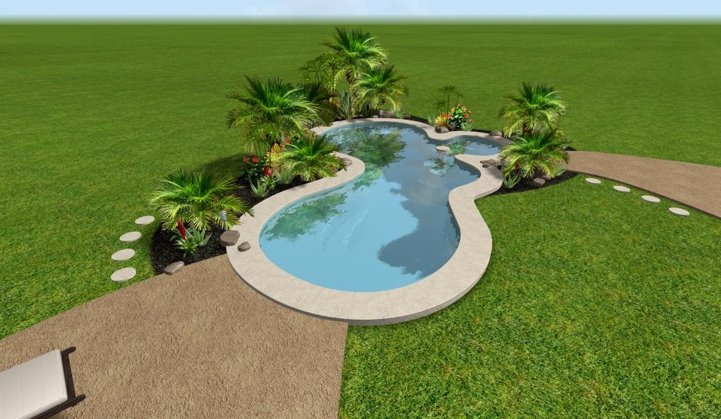 Modelo de una hermosa piscina residencial con formas for Diseno de piscinas residenciales