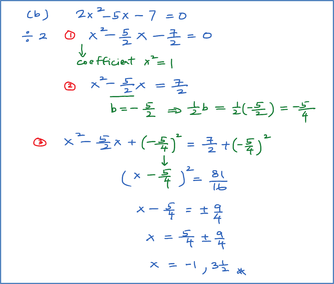 Solving Quadratic Equation using Completing the Square - SPM