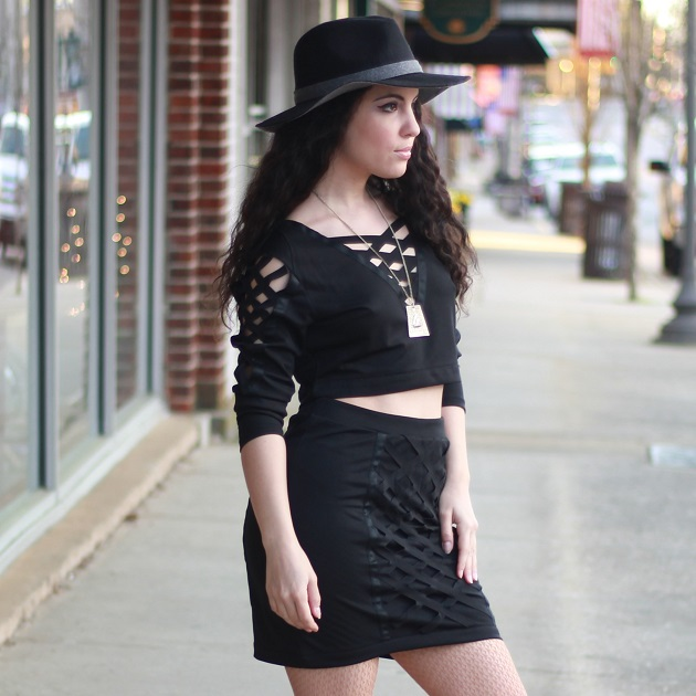 Black Top and Skirt Set