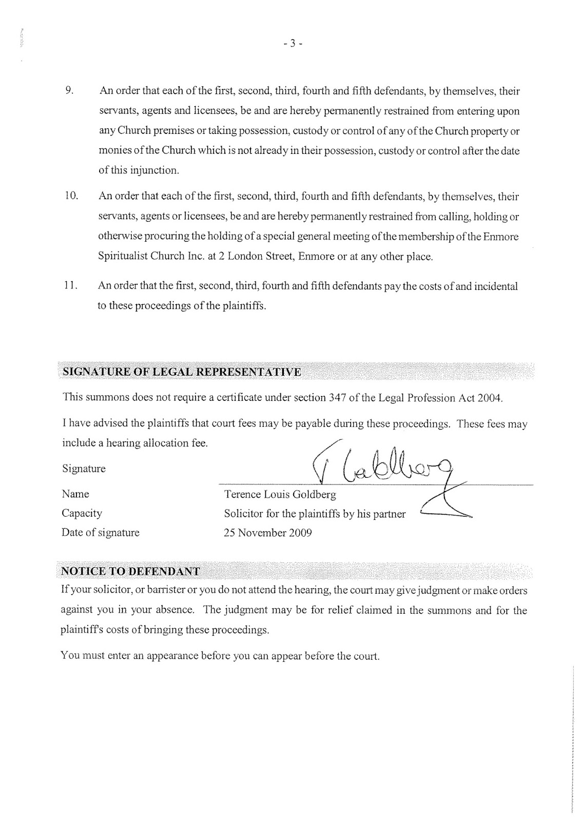 Filed Summons in relation to Supreme Court proceedings 2009/00291458-001 (then 5454/2009)