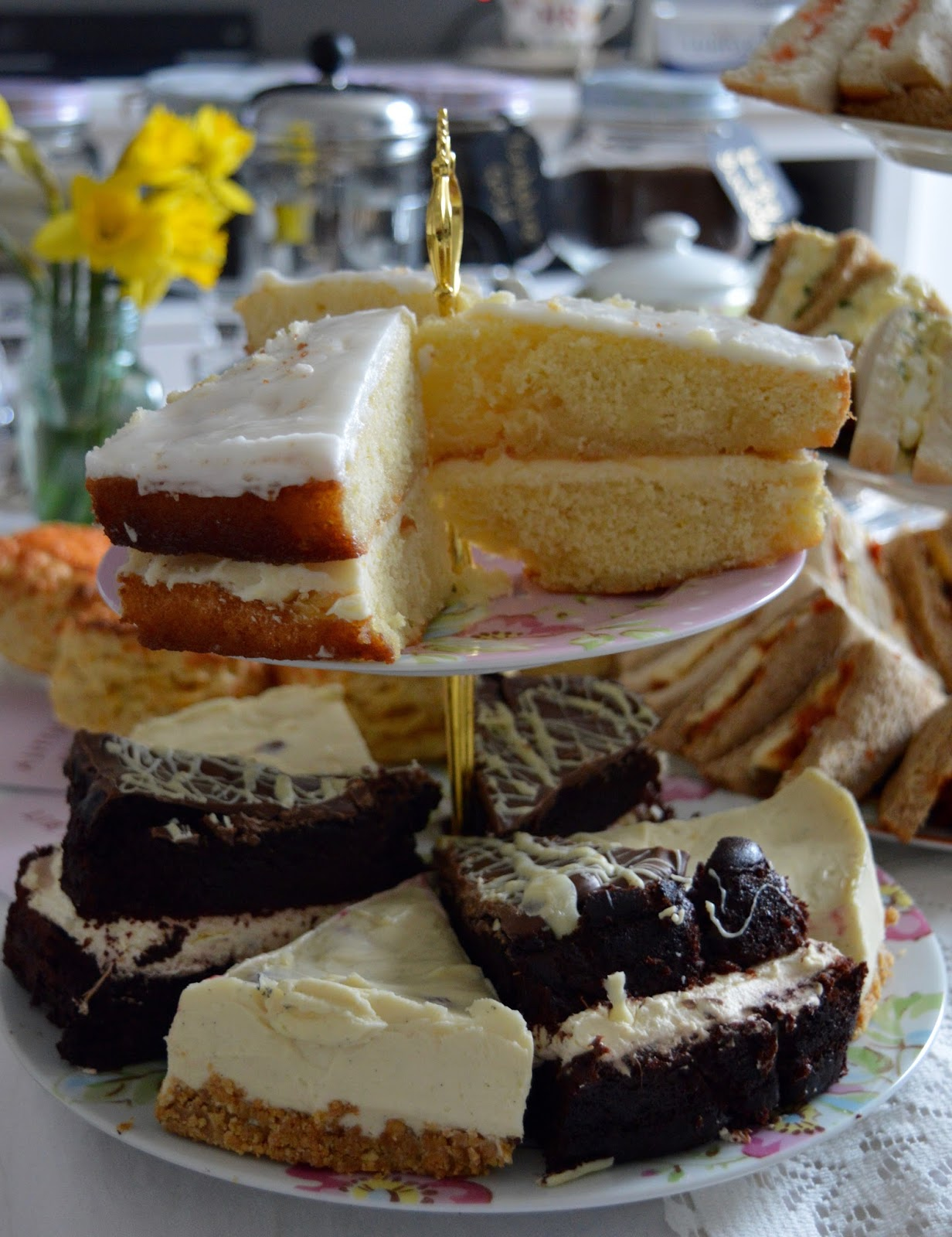 Afternoon Tea delivered in Newcastle with Mrs Dellows Delights - homemade cake stand