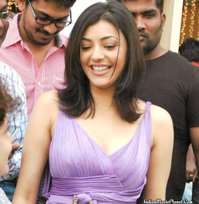 kajal agarwal cleavage show wallpapers hot stills violet dress