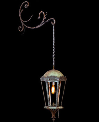 Wall mounted copper garden lantern original hardware, glass panels, recently coverted to electric France circa 1870-1880 (GARD184) 30 h x 14 d  - http://www.linenandlavender.net/p/lighting-new-antique-one-of-kind.html
