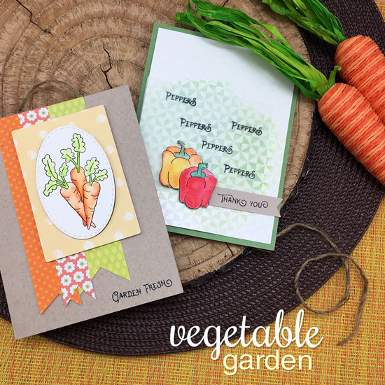 Carrot and Pepper Cards by Jennifer Jackson | Vegetable Garden stamp set by Newton's Nook Designs #newtonsnook