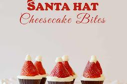 Santa Hat Cheesecake Bites! {No Bake