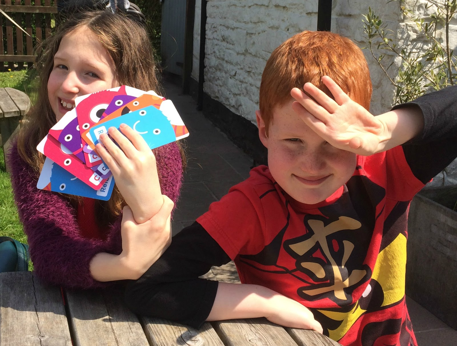 Caitlin & Ieuan Hobbis with Scope's Mindful Monsters Cards