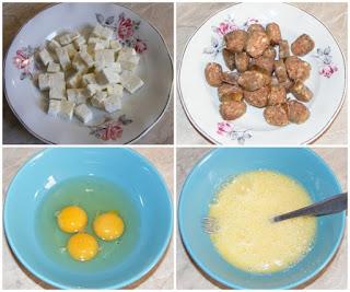 ingrediente pentru omleta pufoasa cu carnati, cum facem o omleta gustoasa cu branza si carnati, carnati, oua, branza, retete culinare,