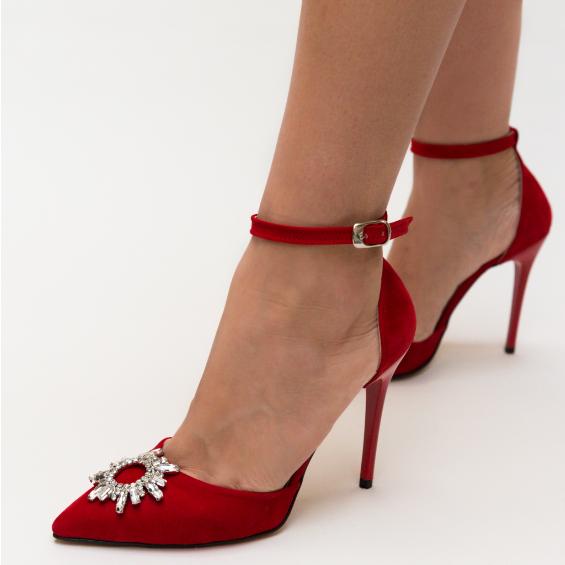 Pantofi rosii de ocazii eleganti cu toc subtire inalt si decupaje laterale