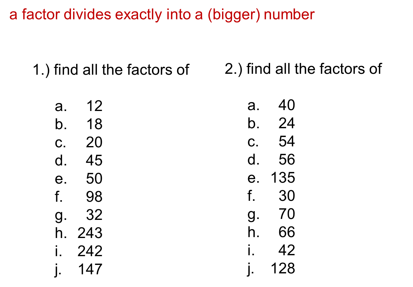 Median Don Steward Secondary Maths Teaching Number Of Factors