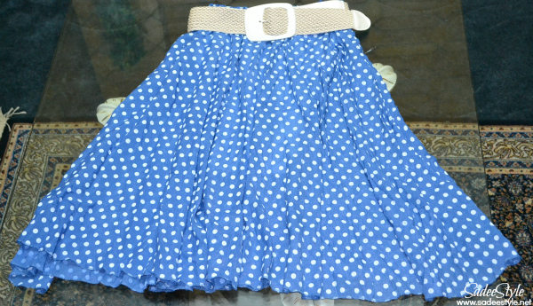 Blue Polka Dot Pleated Belt Ankle Polyester Skirt