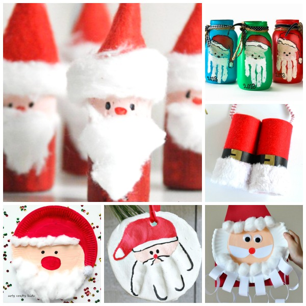 32 SANTA CRAFTS FOR KIDS- tons of cute ideas!  #Christmascraftsforkids #Santacrafts