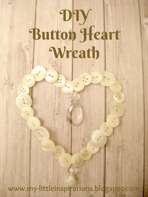 Ghirlanda cuore di bottoni e goccia di cristallo - titolo - My Little Inspirations