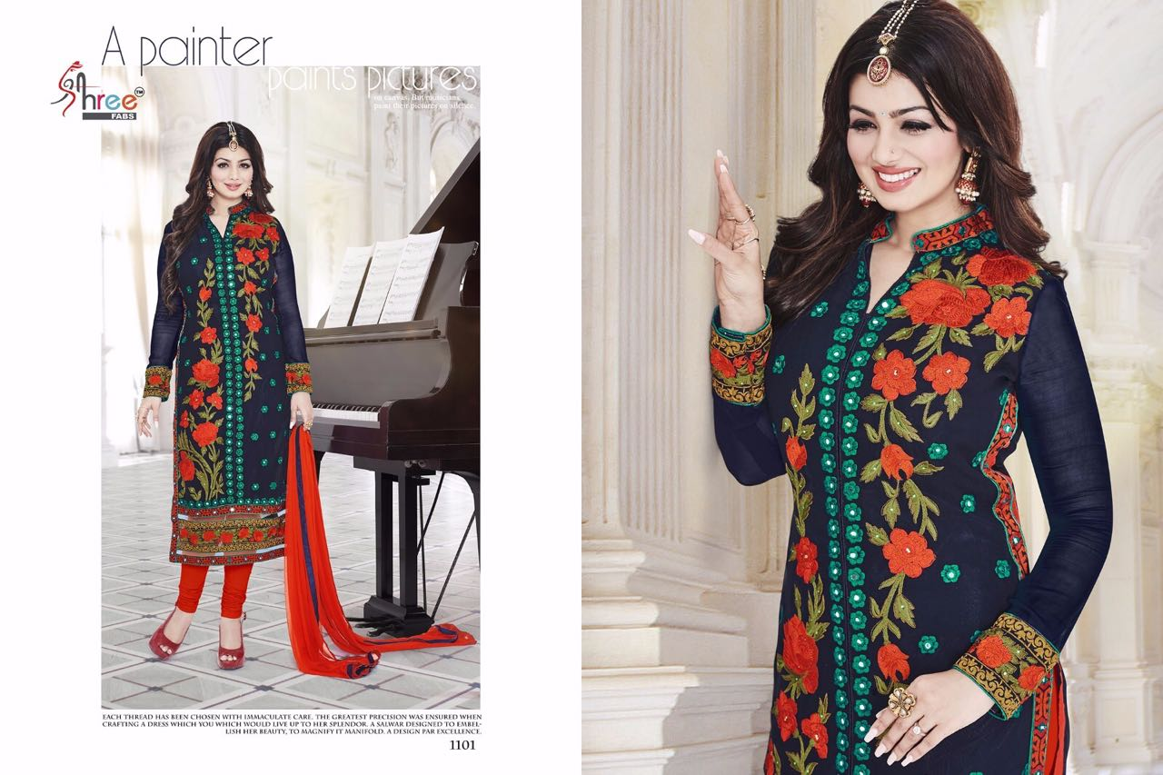 First choice 6-Heavy Designer Georgette with  Embroidey Dress Material