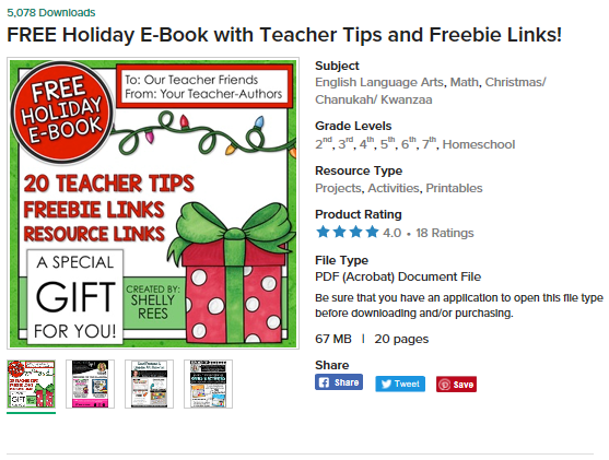 https://www.teacherspayteachers.com/Product/FREE-Holiday-E-Book-with-Teacher-Tips-and-Freebie-Links-4218449