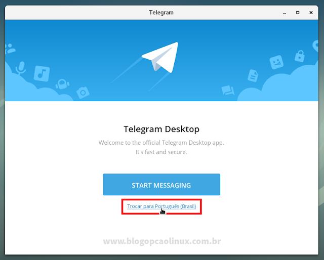 Tela inicial do Telegram Desktop após a instalação