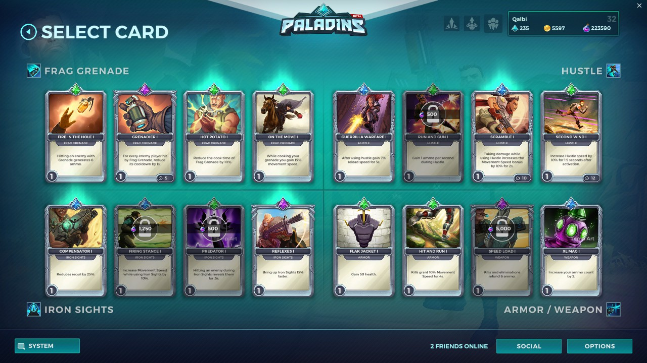 list of paladins cards