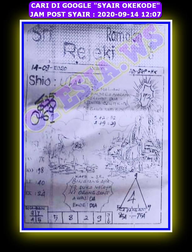 Kode syair Hongkong Senin 14 September 2020 85
