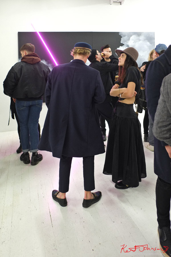 Coats and hats on show along with the Neon cloudscapes of Brooklyn Whelan at China Heights Gallery - Photography by Kent Johnson for Street Fashion Sydney.