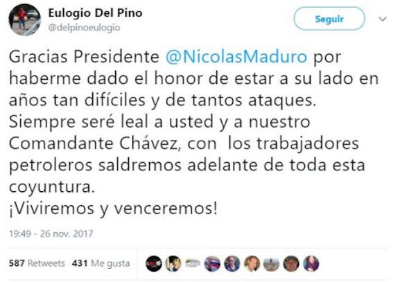 Del Pino y Martínez fueron leales hasta el último minuto - Por twitter