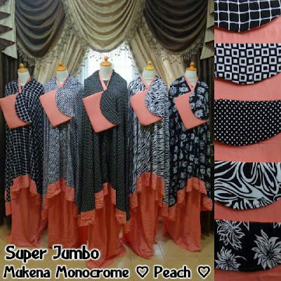 Mukena Monochrome Peach Super Jumbo