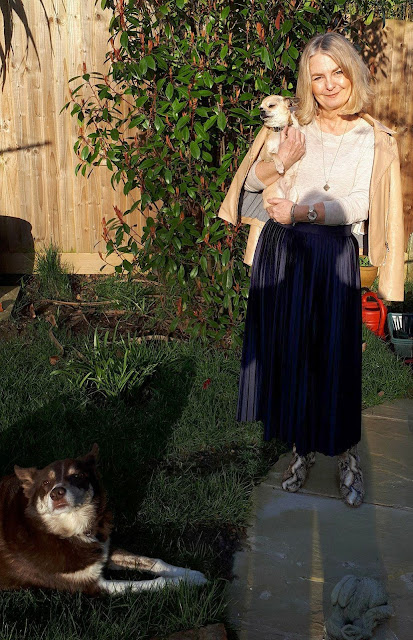 image showing teal skirt outfit and shadows