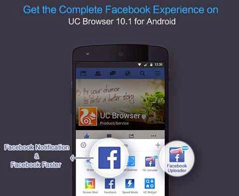 Facebook, UC Web, push notifications feature, UC Browser, Facebook Notification, Browse Facebook Faster, Ali Baba