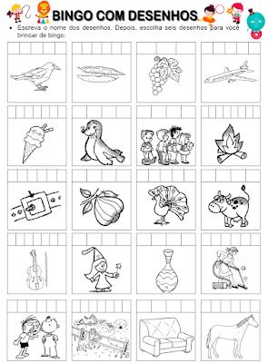 Bingo com desenhos das palavras de palavras que têm F ou V