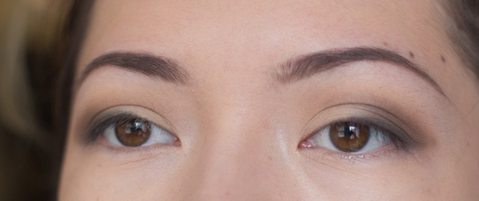 anastasia dipbrow pomade and brow wiz in chocolate worn