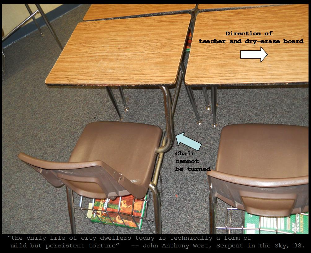 Chair Connected To Desk White Eames The Mathisen Corollary Mild But Persistent Torture Desks Of This Classroom Feature Chairs Writing Surface By A Thick Tube Metal We Are Probably All Familiar With Such