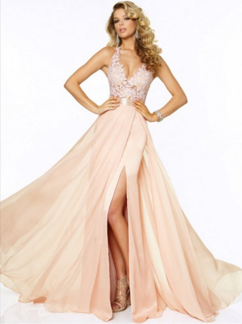 A-line Straps Sweep/Brush Train Chiffon Prom Dresses/Evening Dresses