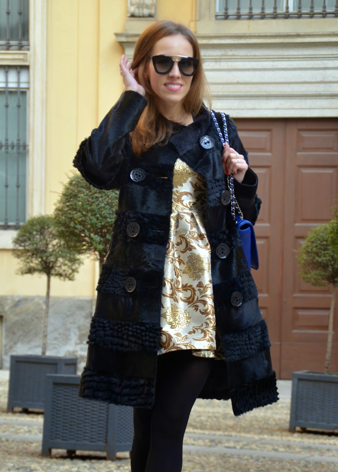 gold-dress-black-fur-coat-prada-sunglasses