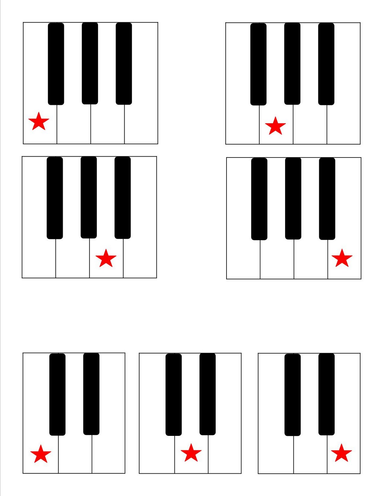 Discoveries Piano Studio Keyboard Note Template For