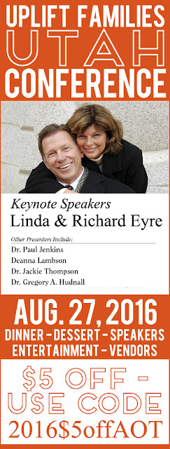 "All parents should attend the UPLIFT FAMILIES Conference in Utah! The line-up of speakers is just amazing and you will come away with many great ideas on how to improve and strengthen my family. The conference will make such a great date night with your spouse OR if you are a single parent, grab another single-parent friend and go together! Use code ""2016$5offAOT"" for $5 off admission! #lds #familiesareforever #upliftfamilies"
